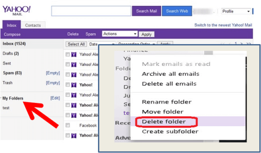 how to delete folder in Yahoo mail