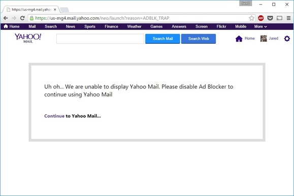 Disable Ad-Blocking Software for Yahoo