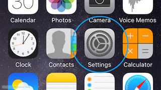 settings app iPhone